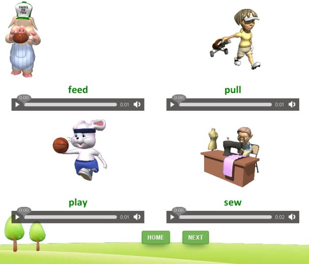 Online english grammar interactive quizzes on doing words for kids