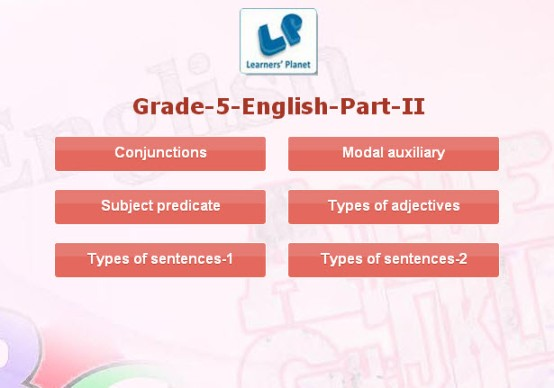 English interactive learning for 5th class kids