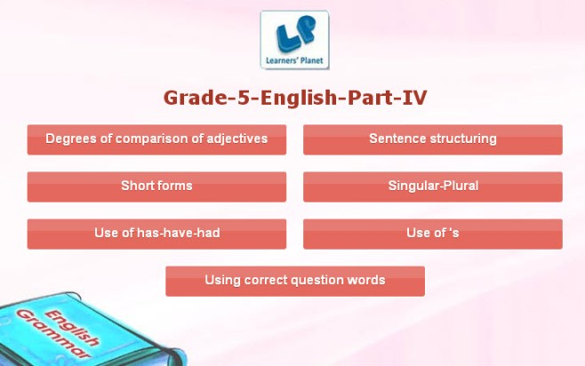 Interactive online 5th class english grammar quizzes