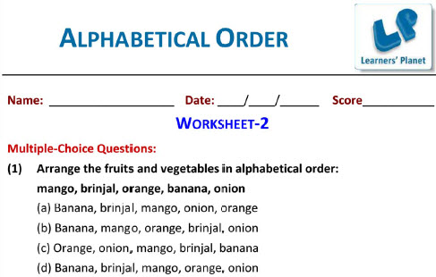 Grade 1 English Alphabetical Order Worksheet