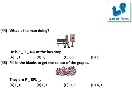 class 1 English worksheet for Pick The Clue