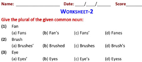 First graders english singular-plural worksheets