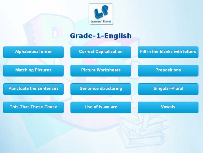 Grade 1 english interactive quizzes for kids