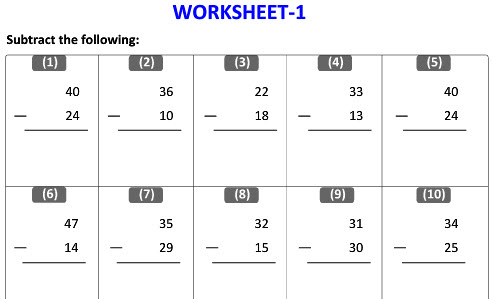 Maths grade 1 Practice worksheets on Vertical Subtraction