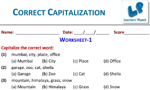 Grade 2 English Correct Capitalization worksheet for kids