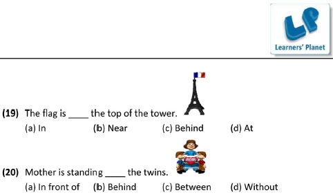 Grade two english grammar prepositions worksheet for kids