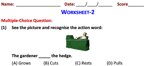 English grammar Recognizing Action Words practice sheets for Grade 2