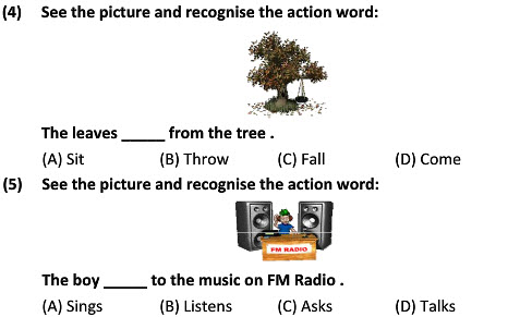 class 2 English worksheets Recognizing Action Words for kids