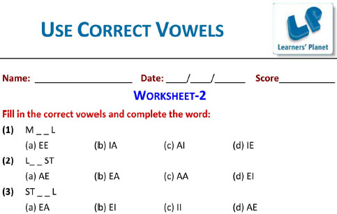 Second grade english use correct vowels practice worksheets for kids