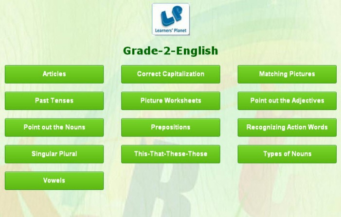 Grade 2 english interactive quizzes for kids