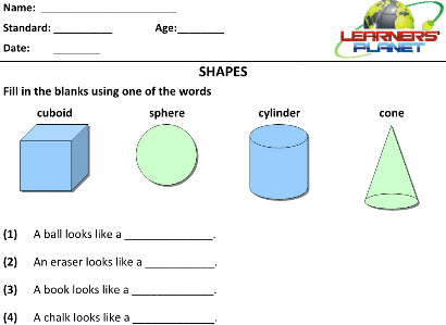 Geometry worksheets for maths class 2 kids