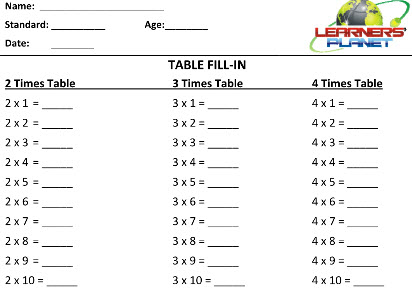 class 2 maths Multiplication practice worksheets for second class kids