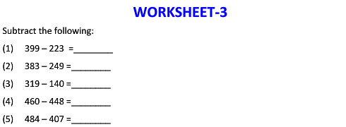 Maths worksheets on Subtraction in Horizontal