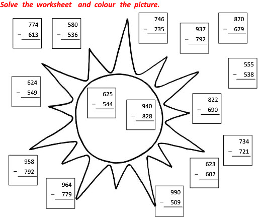 Grade 2 Maths worksheets on Subtraction with colourful Picture