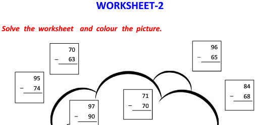 Vertical Subtraction worksheets with colourful Picture for class 2 kids