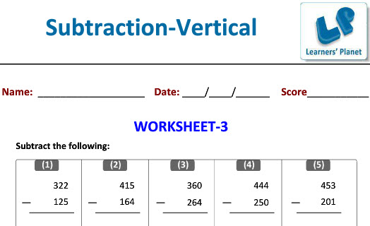 Maths worksheets for Vertical Subtraction class 2 kids