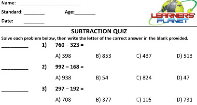 Grade two Maths Subtraction worksheets for kids