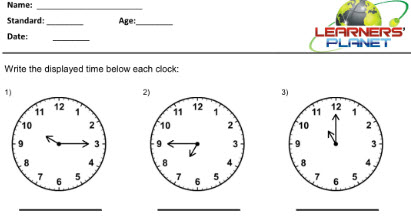 Maths worksheets on Telling Time for grade 2