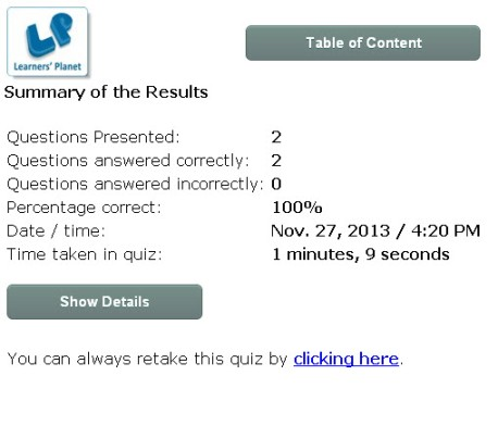 Grade 3 English interactive quizzes online study