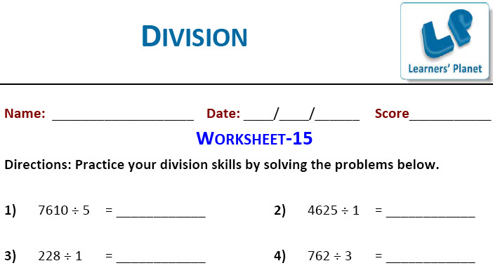 Division Worksheets on maths for class three kids