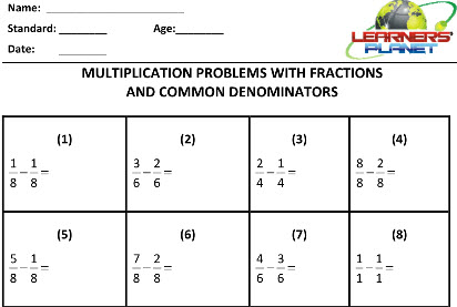 Fractions  worksheets on Maths for class three students