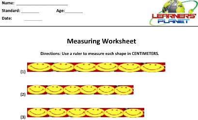 Maths Online Printable Worksheets on Measurements for grade three kids