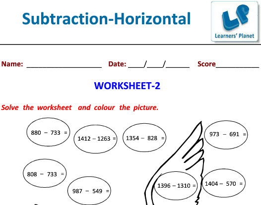 Maths printable worksheet on Horizontal Subtraction with attractive Picture for class 3 kids