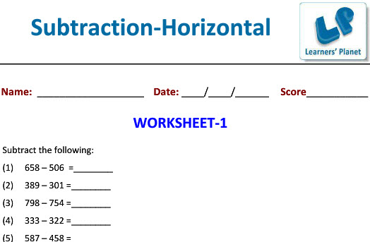 Online Printable Subtraction Worksheets on Maths class 3 kids
