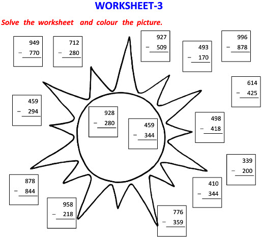 Online Printable Worksheets on Vertical Subtraction with Picture