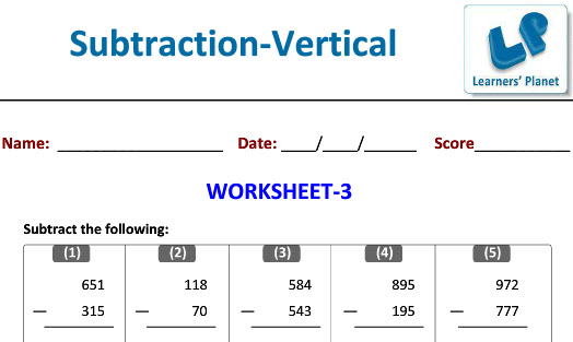 Maths practice worksheets for Vertical Subtraction
