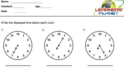 Maths printable worksheets on Telling Time for class 3 students