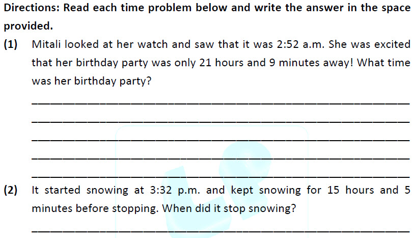 3rd class maths printable worksheets on Telling Time