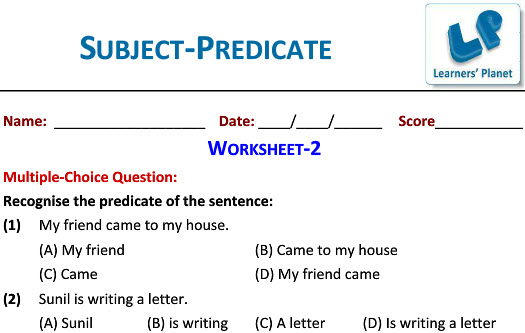 English class 4 practice worksheet Subject-Predicate for kids