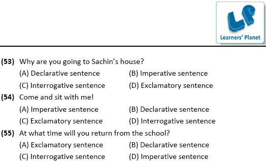 4th class English grammar practice worksheets for Types of Sentences