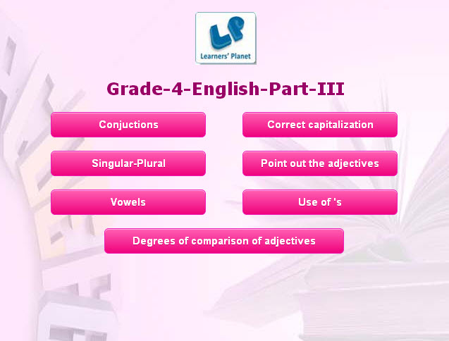 4th class online english grammar interactive study material