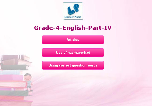Fourth class kids english study material online