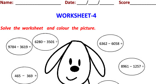Horizontal Subtraction worksheets with Picture for class 4 students