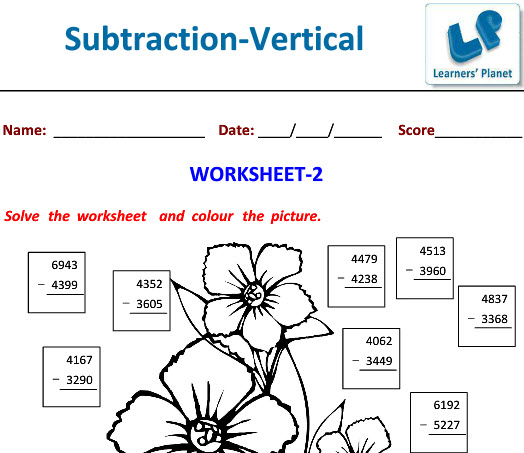 Maths Vertical Subtraction worksheets with attractive Picture for class 4