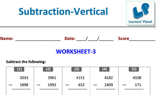 class 4 Online Printable Worksheets on Subtraction in Vertical