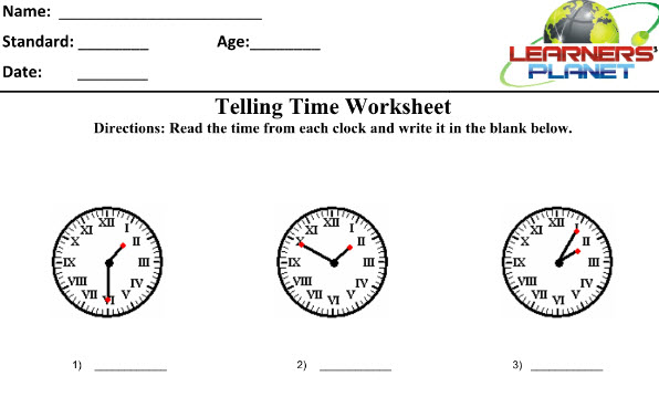 Grade four Maths worksheets on Time for kids