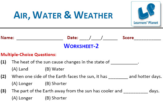 Air, Water & Weather Worksheets on science for 4th class kids