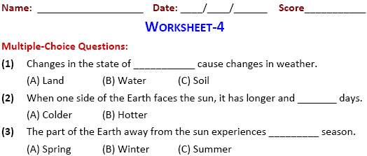 class 4 Air, Water and Weather worksheets on science