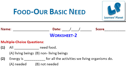 printable worksheets for Food-Our Basic Need on science