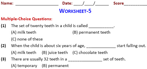 Our Food-Teeth & Digestion Worksheet for fourth class kids