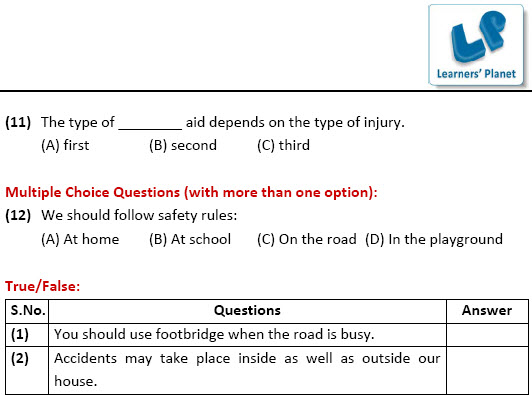 4th class EVS Worksheets on Safety and First Aid – First Aid Worksheet
