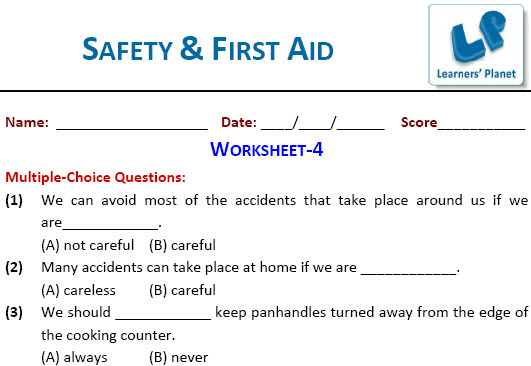 class 4 EVS online printable worksheets for Safety & First Aid