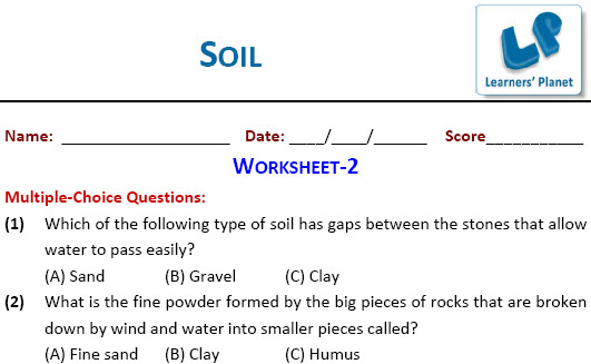 Soil worksheets for EVS students for fourth class