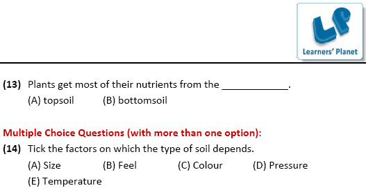 class IV worksheets on EVS for Soil