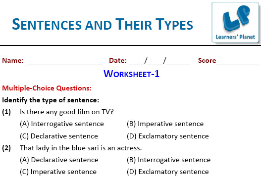 5th class English worksheets for Sentences and Their Types