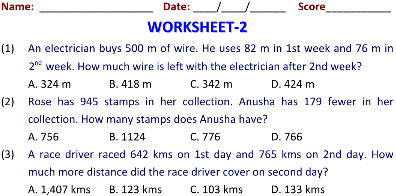 Online Printable Worksheets for Addition & Subtraction on maths